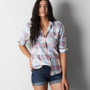 AEO Vintage Boyfriend Southwest Plaid Button Down